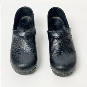 Dansko Black Tooled Leather Professional Clog